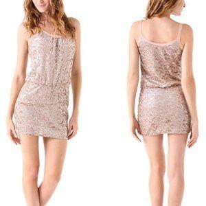Rebecca Taylor Rose Gold Sequin Mini Dress